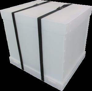 プラダン箱 C式 バックル付ベルト 緩衝材貼付 什器梱包材 重量物梱包 完成イメージ